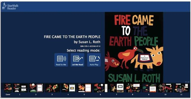 Cover of FIRE CAME TO THE EARTH PEOPLE, by Susan L. Roth, as seen in the StarWalk Reader software