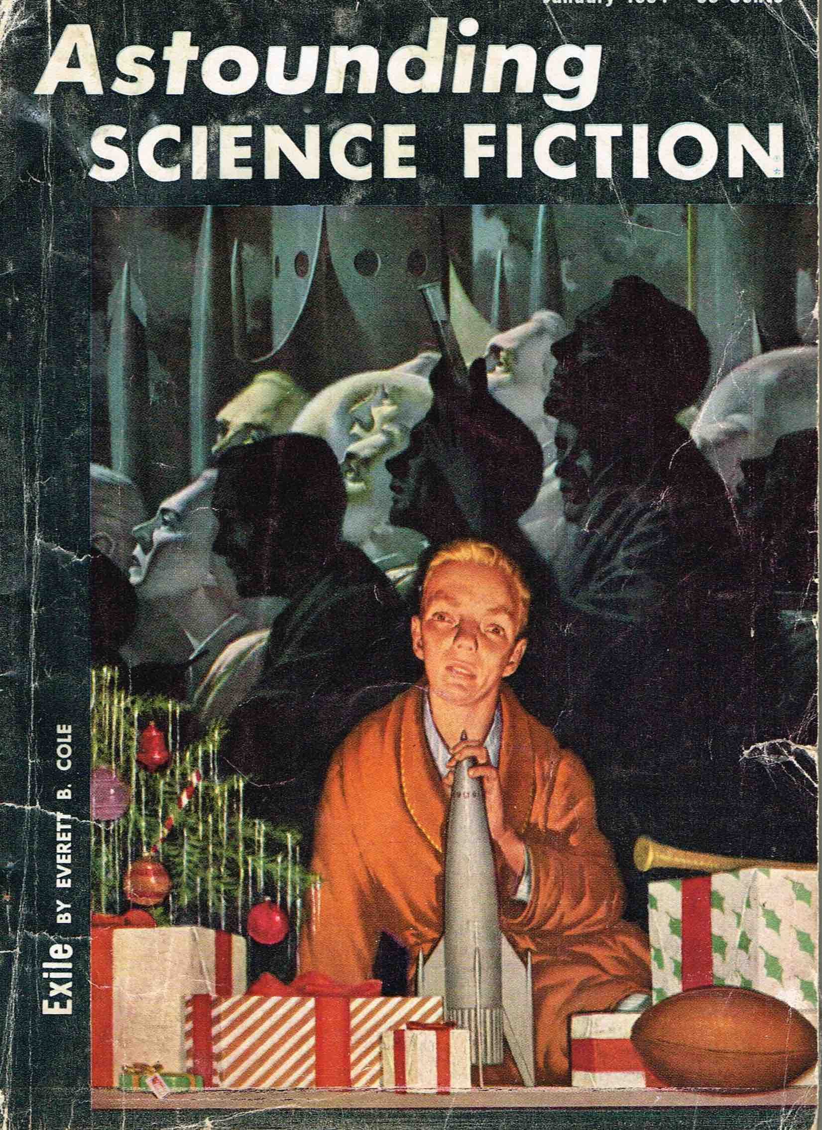 Cover of SciFi magazine with man and rocket