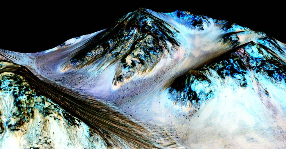 Martian peaks with streaks running down slopes